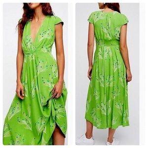 Free People green retro midi dress XS S